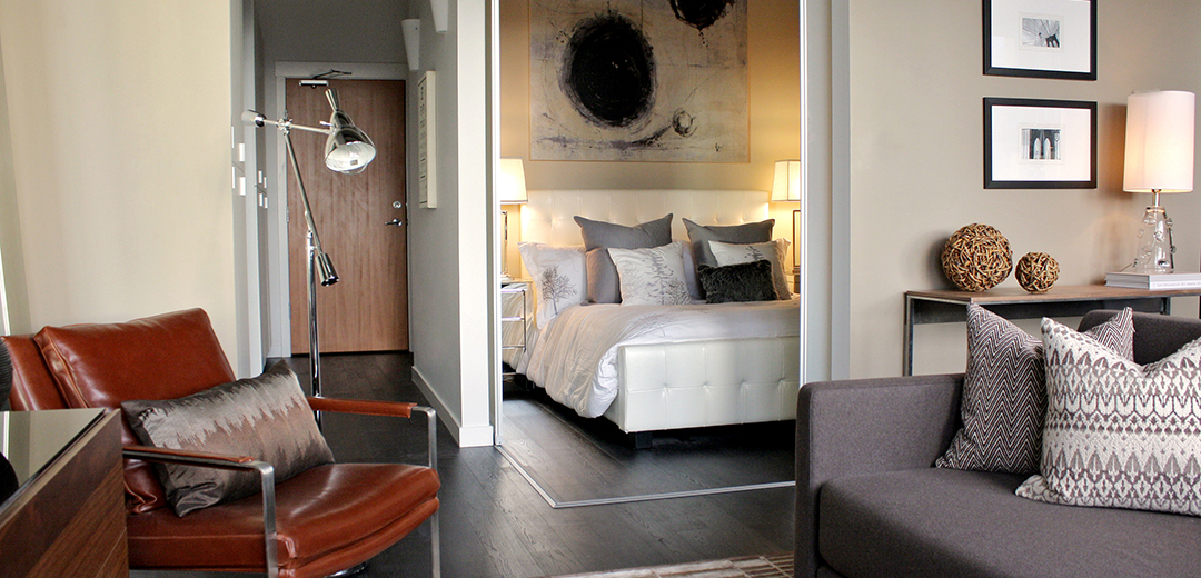 Living Room And Bedroom Design Art Installation Hudson Condo Victoria BC