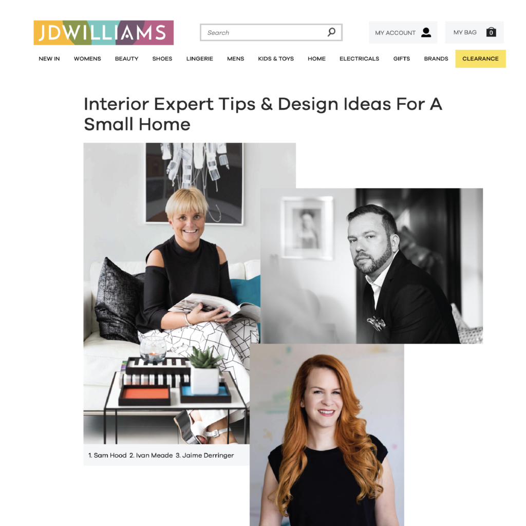JD Williams Lifestyle Online Article – Interior Expert Tips