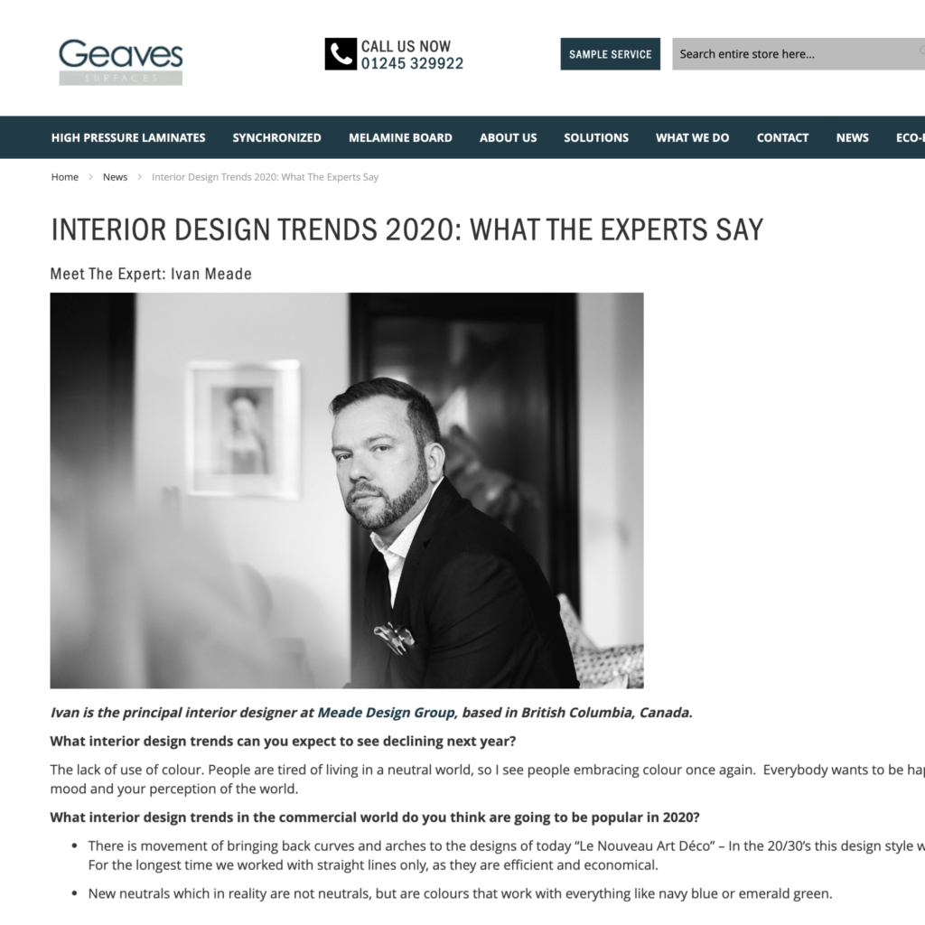 Geaves Surfaces – Interior Design Trends 2020: What the Experts Say