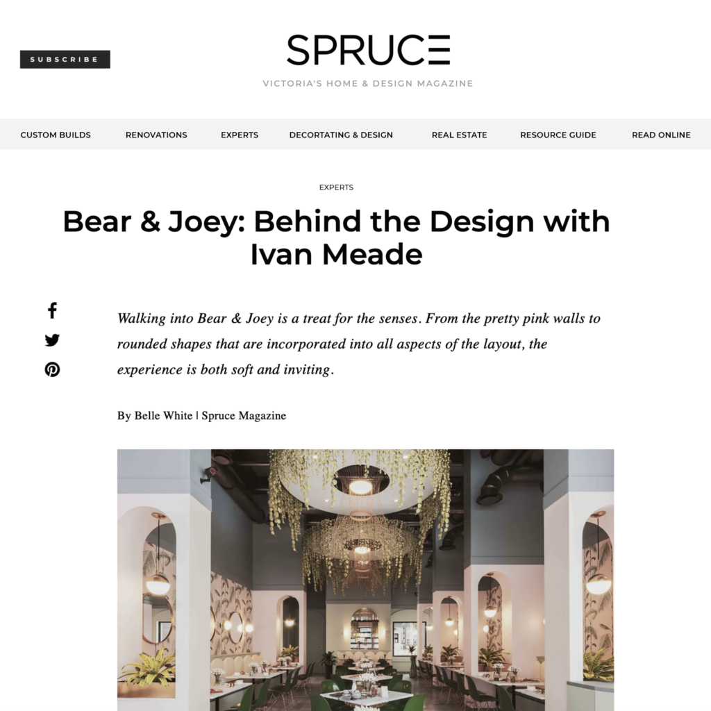 SPRUCE Magazine – Bear & Joey, Behind the Design with Iván Meade